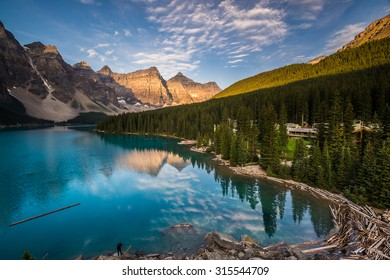 The Moraine Lake Lodge at sunrise in Banff National Park, Canada.