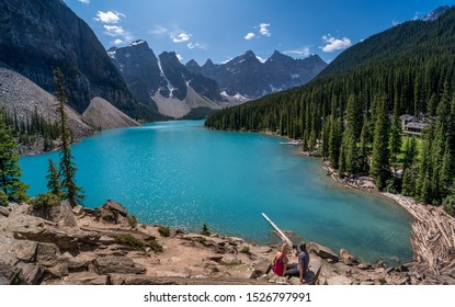 Moraine lake panorama from above, Alberta, Canada (Banff National Park)