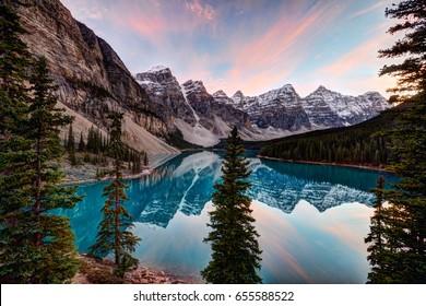 Moraine lake at sunset banff national park canada