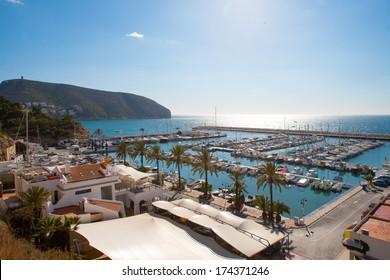 Moraira Alicante marina nautic port high angle view in Mediterranean