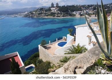 moraira architecture and mediterranean sea in alicante spain