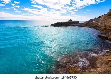Moraira Cala Andrago beach in Teulada Alicante at Mediterranean Spain