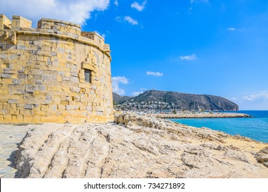 Moraira Castle with Cap d'Or and Mediterranean Sea in the background, Moraira, Costa Blanca, Spain