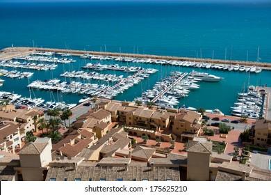 Moraira Club Nautico marina aerial view in Alicante Mediterranean sea of spain