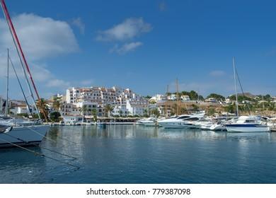 Moraira harbour and yacht club, Moraira, Costa Blanca, Spain