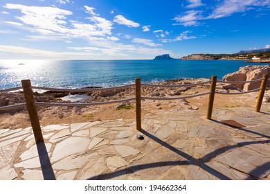 Moraira in Mediterranean with Ifach penon calpe view Alicante at Spain