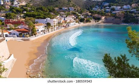 Moraira playa el Portet beach high angle view in Mediterranean Alicante of Spain