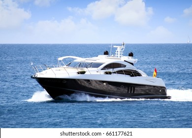 MORAIRA, SPAIN - JUNE 09: Private yacht finding anchorage in Moraira bay to pass a sunny day in this paradise of Alicante coast, on june 09, 2017 in Alicante.