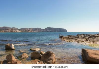 Moraira-Teulada Cala Andrago beach in Alicante at Mediterranean Sea Spain
