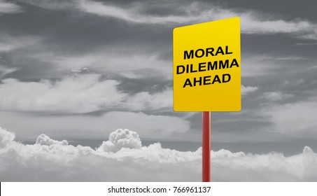 Moral dilemma ahead signage on a stormy clouds concept.