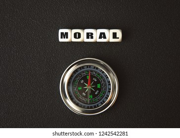 Moral text on cubes with compass