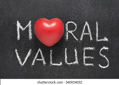 moral values phrase handwritten on blackboard with heart symbol instead O
