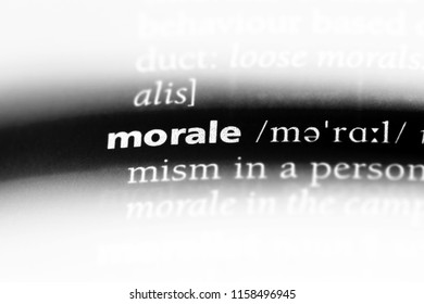morale word in a dictionary. morale concept.