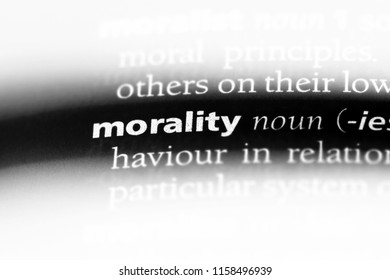 morality word in a dictionary. morality concept.