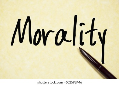 morality word write on paper