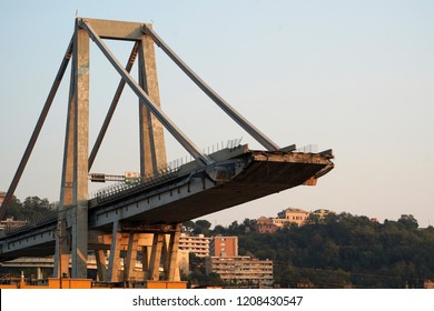 morandi collapsed bridge in genoa italy