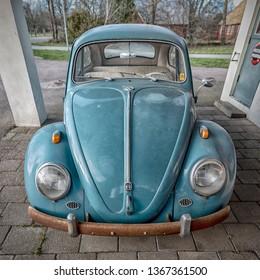 MORARP, SWEDEN - MARCH 23, 2019: Classic volkswagon beetle at a retro filling station in Morarp, Sweden.