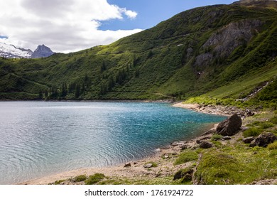Morasco Lake (VCO), Italy - June 21, 2020: The landscape and Morasco Lake, Morasco Lake, Formazza Valley, Ossola Valley, VCO, Piedmont, Italy