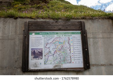 Morasco Lake (VCO), Italy - June 21, 2020: A tourist sign, Morasco Lake, Formazza Valley, Ossola Valley, VCO, Piedmont, Italy