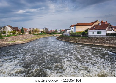 Morava River in Veseli nad Moravou, small town in historical Moravia region, Czech Republic