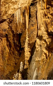 Moravian Karst, Czech Republic - May 05, 2013: A karst landscape and protected nature reserve in the eastern part of the Czech RepublicCave with many stalagmites and stalactites
