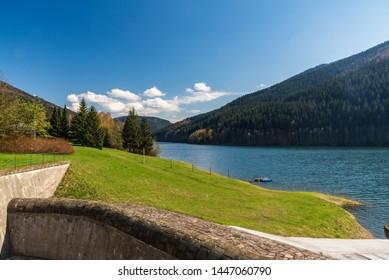 Moravka water reservoir on Moravka river above Moravka village in Moravskoslezske Beskydy mountains in Czech republic during nice springtime day