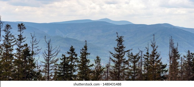 Moravskoslezske Beskydy mountains with highest Lysa hora hill from forest glade bellow Velka Cantoryje hill in Slezske Beskydy mountains in Czech republic during mostly cloudy springtime day