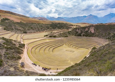 Moray, Peru - Sep 16, 2018: Tourists visiting Moray in Peru. It is an archaeological site with Incan circular terraces for use in farming experiments.