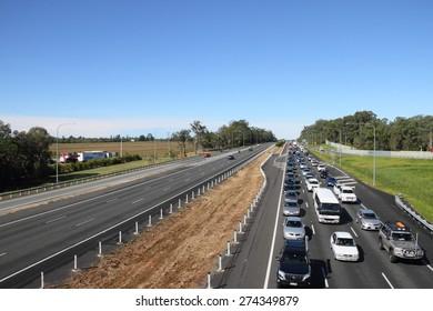 MORAYFIELD, AUSTRALIA - MAY 2: Flash flooding causes heavy M1 traffic congestion northbound towards sunshine coast