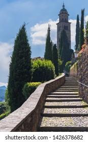 Morcote and Lake Ceresio. Morcote, Canton Ticino, Switzerland