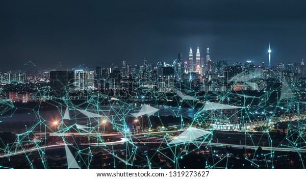 Morden city and intelligent communication network of things ,wireless connection technologies for business .