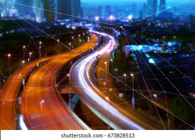 Morden city and smart transportation and intelligent communication network of things ,wireless connection technologies for business . - Shutterstock ID 673828513