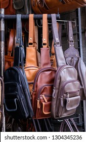 More the leather shoulder bag hang on in the leathe shop.