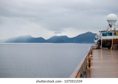 More og Romsdal, Norway - august 6, 2018: View of the Norwegian fjords from the deck of a cruise ship