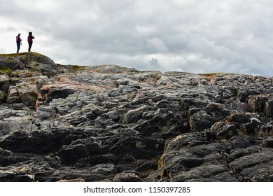 MORE OG ROMSDAL, NORWAY - JULY 6, 2018. Rocks view on the coast of famous Atlantic Ocean Road -  Atlanterhavsveien , More og Romsdal county, Norway.