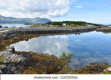 MORE OG ROMSDAL,NORWAY - JULY,2018.The Atlantic Ocean Road -  Atlanterhavsveien  8.3-kilometer  long section of County Road 64 runs through an archipelago in Eide and Averoy in More og Romsdal, Norway