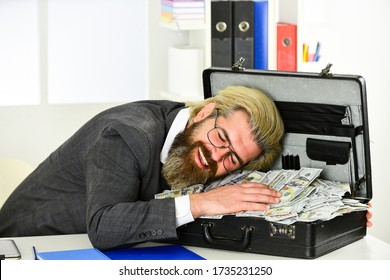 More Sales Without Extensive Spending. Cash turnover. Company income fraud. Businessman with cash. Bank account. Credit and cash concept. Corporate finance. Economics concept. He loves money. - Shutterstock ID 1735231250