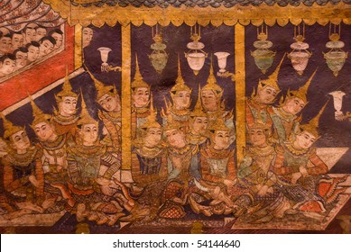 More than seven hundred years old wall painting at Phra Singh temple, Chiang mai province north of Thailand.