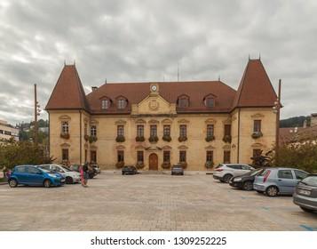 Moreau,France-Sept. 04,2018:City hall of Morteau in France