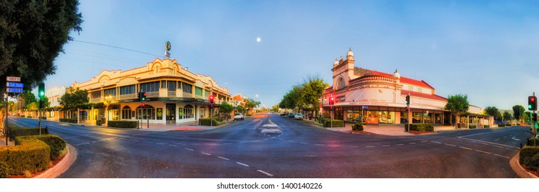 Moree, Australia -20 April, 2019: Down town intersection of main streets in Moree outback town of rural australia at sunrise.