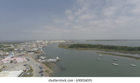 Morehead City watrefront and port birds eye view