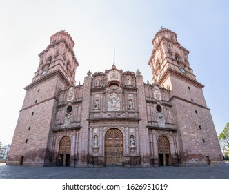 The Morelia Cathedral, build with pink stones, in the Mexican city of Morelia, Michoacan state.