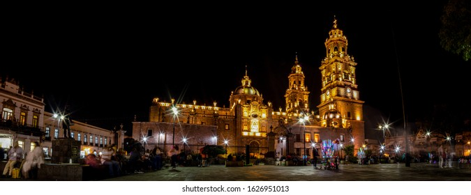 The Morelia Cathedral at night, as seen from the plaza Melchor Ocampo, in the Mexican state of Michoacan