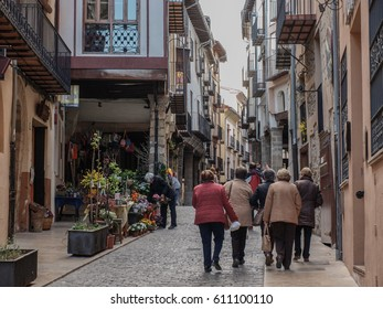 MORELLA, SPAIN - APRIL 04, 2016: Street view of the urban life or Morella