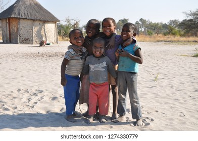 Moremi, Botswana - August, 25, 2013: Group of child in a remote village