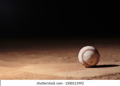 Moreno Valley Ca/ USA Sep 18, 2017 Photo of a baseball taken on top of home plate.