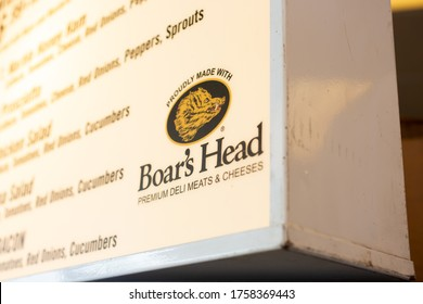 Moreno Valley, California/United States - 06/17/2020: A view of the Boar's Head logo on the corner of a restaurant menu sign.