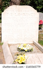 Moreton, Dorset, UK -  19th June 2018: The grave and final resting place of T. E. Lawrence. Colonel Thomas Edward Lawrence, CB, DSO was a British archaeologist, military officer, diplomat, and writer.