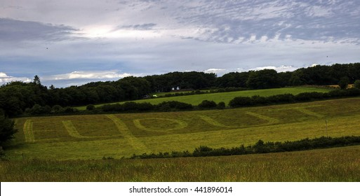 Moretonhampstead, Devon, UK, June 23 2016 - Showing the word EU OUT written on a field on Devon Farmland, written in relation for the Political EU referendum, which occured on the 24th of JUNE 2016