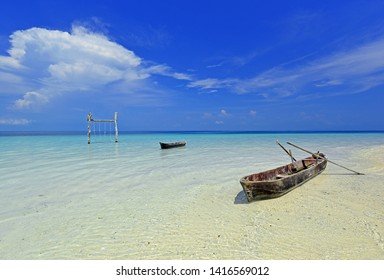 Morgan boats on the beach with blue sky background.Nature landscape for vacation. Famous Sali island in Myanmar.Dream destination of travellers on holidays. Beautiful place for summer time.Copy Space.